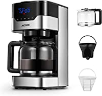 aicook macchina caffè, macchina per caffè americano programmabile con indicatore led pulsanti touch, intensità dell'aroma regolabile e controllo te