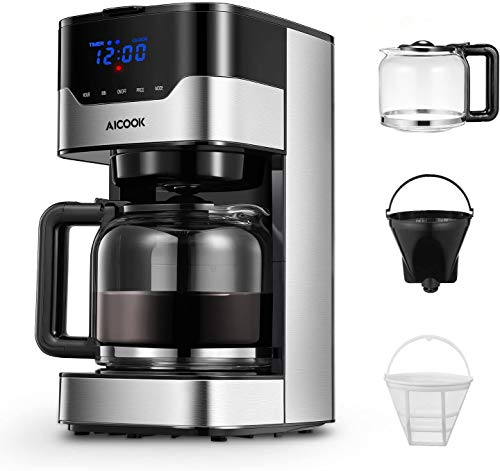 Cafetera Aicook Cafetera Goteo para 12 Tazascon con Temporizador Programable, Máquina de Café con Pantalla Táctil, Filtro Permanente, Sistema Antigoteo, Tanque de Agua DE 51 oz  1.5 Litros  900W,Negro