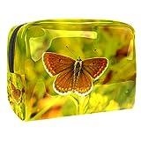 Trousse de voyage Papillon insecte jaune Accessoire Trousse de Maquillage pour Femme Kit de Voyage Fille Etui de Rangement 18.5x7.5x13cm