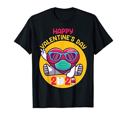 Dabbing Heart In A Mask 2021 Día de San Valentín Dab Boys Camiseta