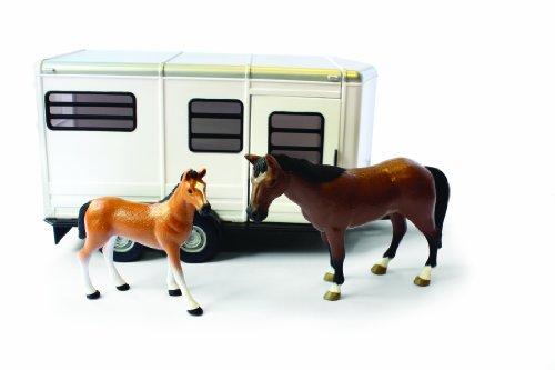 Tomy Big Farm - 42846 - Véhicule Miniature - Remorque à Chevaux avec Cheval et Poulain