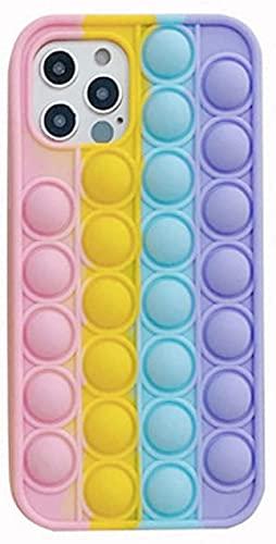 KKP Cover per iPhone XR e X Bubble Pop It Fidget Toys – Custodia Cellulare Antistress Colore Arcobaleno in Silicone Morbido 3D Custodia per Telefono Antistress Sensoriale con Bolle