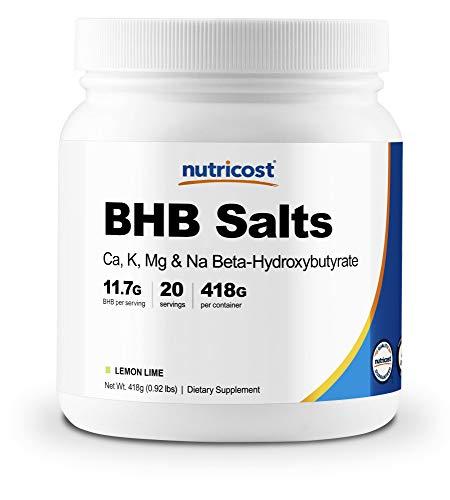 Nutricost Exogenous Ketone Salts Beta-Hydroxybutyrate (BHB) Lemon-Lime 20 Servings (4-in-1 Ca, K, Mg, Na)