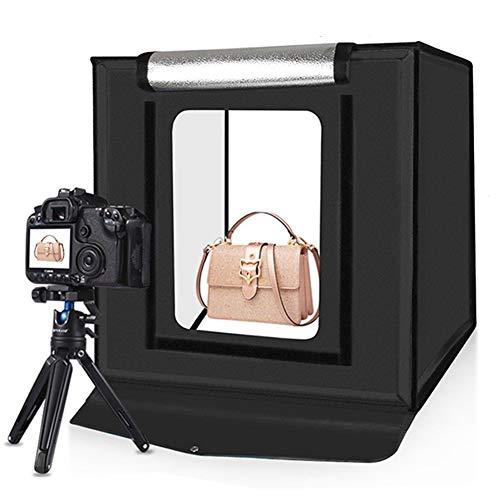 Kit Caja Luz para Estudio Fotográfico, 40cm Portátil Plegable 30 W, 5500 K, Luz Blanca Iluminación Fotográfica Kit Caja Tienda Fotografía para Estudio con 6 Fondos Coloridos (Black)