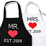 KMCH Mr. and Mrs. Aprons 2019 Couples Kitchen Aprons Funny Cooking Bibs Gifts for Wedding Newlyweds...
