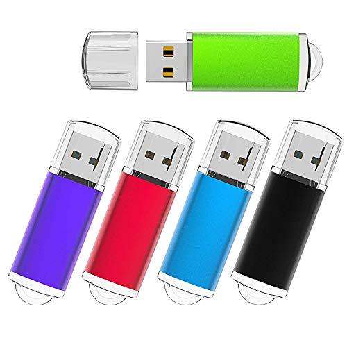Flash Drive 32 GB USB Flash Drive 32GB 5 Pack Thumb Drive Jump Drive Multiple Color USB Memory Storage Flash Stick Pen Drive USB 2.0, Black/Blue/Green/Purple/Red (32GB)