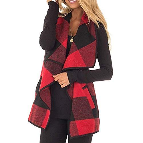 iHENGH Damen Herbst Winter Warm Bequem Slim Lässig Mode Frauen Weste kariert ärmellose Revers offene Frontjacke Sherpa Jacke Mantel Jackentaschen(Rot, 4XL)