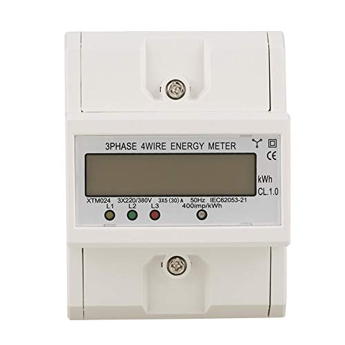 Electronic Energy Meter, 3 x 220V 5A High Overload Digital 6+2 Digits LCD Display 3-Phase 4 Wire 4P 35mm DIN-Rail Electric Meter for Sub-metering System(5A)