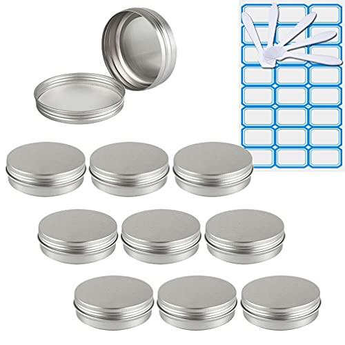 ZEOABSY10 Piezas Tarros de Aluminio con Tapa Rosca 100ml,Plata Tarros de Aluminio Vacíos Redondo para Contenedor De Cosméticos CremasCaja de almacenaje con5 Espátula y 1Etiqueta