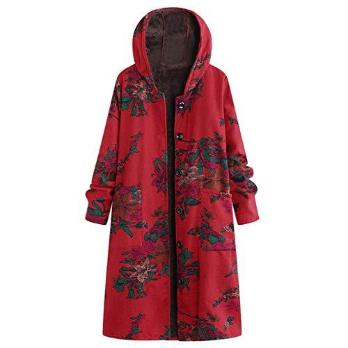 Shangyi winterjas en mantel voor dames, lange mantel van katoen met capuchon en pluizige print
