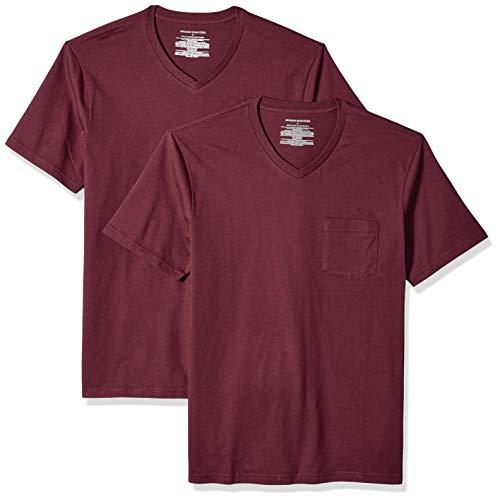Amazon Essentials – Camiseta con cuello en V para hombre (2 unidades), Rojo (Burgundy Bur), US S (EU S)