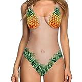 Traje de Baño Mujer 2019 SHOBDW Moda Original Impresion 3D Floral Fruta Bañadores de Mujer Natacion Reductores Monokini Bikini Push Up Sexy Traje de Baño Mujer Una Pieza(Naranja,L)