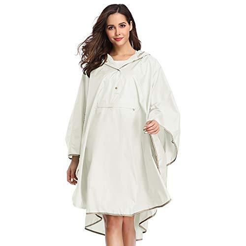 Summer Mae Regen Poncho Jacke Mantel für Erwachsene mit Kapuze wasserdicht mit Reißverschluss im Freien,Einheitsgröße,Weiß1