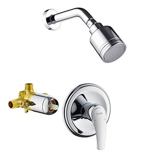 SHAMANDA Shower Faucet Set, Single-Function Shower Trim Kit (Valve Included) Pressure Balancing Shower System with Single-Spray Detachable Clean Shower Head, Chrome, L801