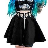 Falda gótica para mujer, estilo punk, con anillo de hierro, con cremallera, para Halloween, cosplay, minifalda, carnaval, estilo medieval, Negro , M