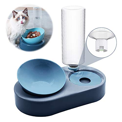 PetGens Doppelte Katzennäpfe, Futternapf und Automatischer Wasserspender für Katzen und Hunde, Futterspender & Automatischer Wassertränker im Set für Haustier Katze und Kleine oder Mittelgroße Hund
