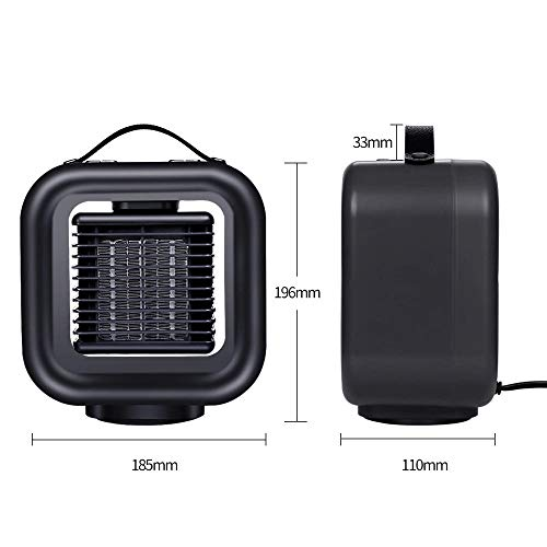 CIQING Radiant Heater,Electric Fan Heater with 2 Heat and 1 Cold Speed Setting Size 18.5x11x19.6 cm – Black,Portable Fan…