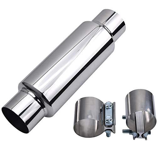 2.25' Exhaust Muffler Kit, Universal Glasspack Muffler with 2 inch Clamp for Muffler, Stainless Steel Car Muffler and Muffler Clamps Kit