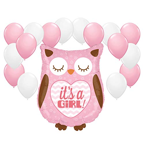 Andaz Press Balloon Party Kit with Signs, Girl Baby Shower, Owl with Pink and White Balloons, Hanging Decor, Hanging Decorations, 19-Piece Kit