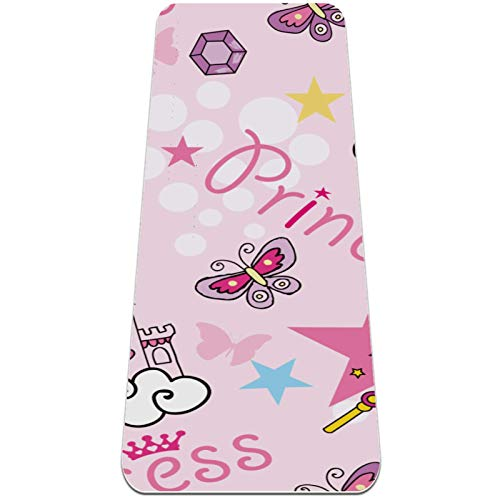 Esterilla de ejercicio de yoga de 72 x 32 pulgadas – Superficie de goma natural respetuosa con el medio ambiente con alineación corporal rosa castillo de princesa