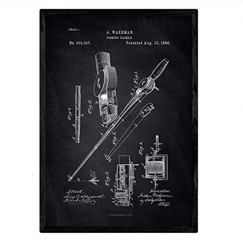 Nacnic Poster con patente de Caña de pescar. Lámina con diseño de...