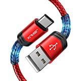 JSAUX USB Type C ケーブル 【2m 超高耐久ナイロン編み】USB C 3A高速充電 480Mb/s高速データ転送 QuickCharge3.0対応 SamsungGalaxy S10 S9 S8 S20 Plus A51 A11、Note 10 9 8、PS5コントローラー、USB C充電器、Huawei P9など対応 (赤)