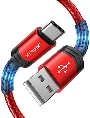 JSAUX Cavo USB C 3A Carica Rapida[1M+2M/2 Pezzi],Cavo USB Tipo C Intrecciato in Nylon Compatibile per Samsung S20 S10 S9 S8 Note10 9 8, Huawei P10 P9 Mate20, Xiaomi,Google Pixel, LG,Sony-Rosso