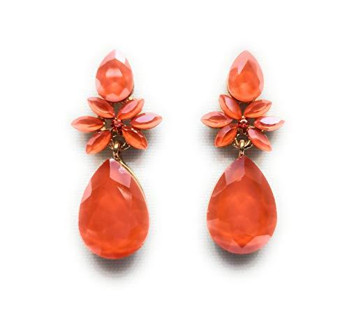 Pendientes largos mujer colores brillantes cristales facetados fiesta boda evento, flor naranja