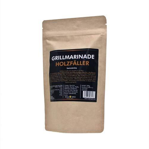 Royal Spice - Grillmarinade Holzfäller für saftiges, zartes & aromatisches Fleisch - 240g BBQ Gewürzmischung als Steak Marinade für Schwein & Rind - Marinade zum Anrühren mit Bier