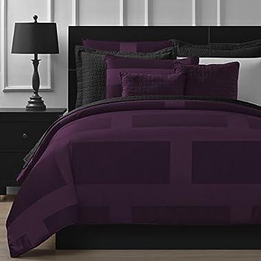 Comfy Bedding Frame Jacquard Microfiber King 5-piece Comforter Set, Plum
