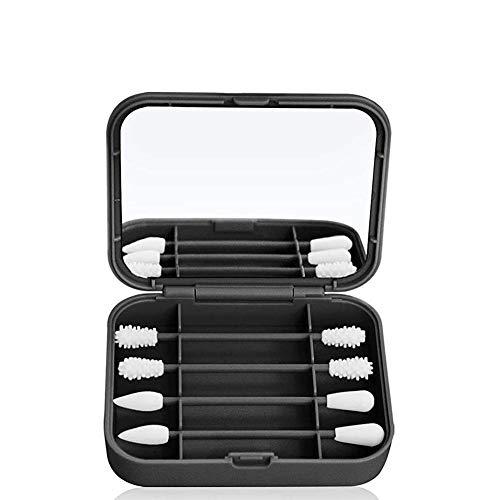 Bâton de coton-tige en silicone portable réutilisable Coton-tiges Bâtons de nettoyage d'oreille lavables Nettoyeur d'oreille avec étui de rangement Écouvillons d'oreille souples Maquillage Double face