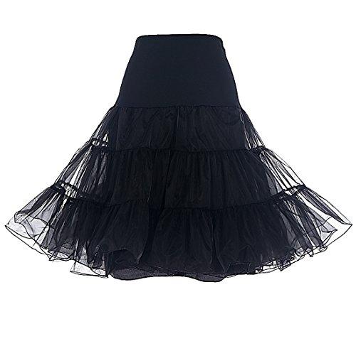 DRESSTELLS 1950 Petticoat Reifrock Unterrock Petticoat Underskirt Crinoline für Rockabilly Kleid Black S