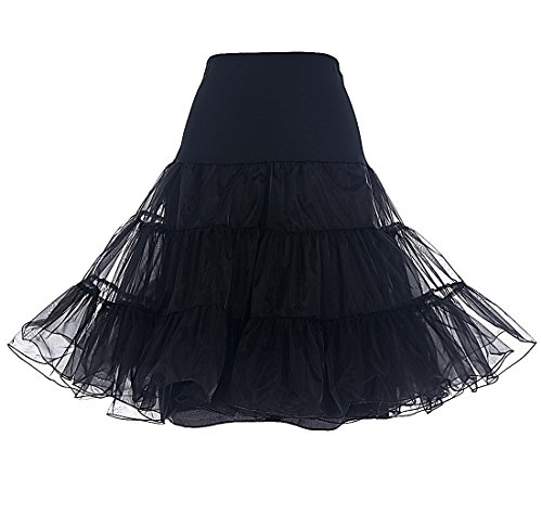 DRESSTELLS 1950 Petticoat Reifrock Unterrock Petticoat Underskirt Crinoline für Rockabilly Kleid Black L