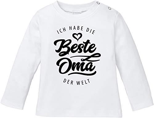 MoonWorks® Baby Langarmshirt Babyshirt Ich Habe die Beste Oma der Welt Spruch Geschenk Jungen Mädchen weiß 68/74 (4-9 Monate)