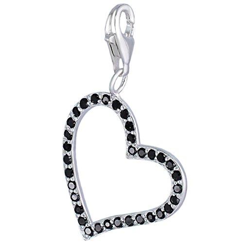 Corazón MELINA Charm Plata Zirconia 925 1801714 negro