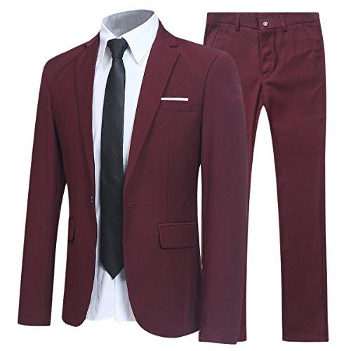 Traje de 2 piezas para hombre compuesto por chaqueta y pantalones, ajuste estrecho, para boda, cena,negocios, casual, disponible en 10 colores Rojo granate M