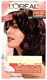 L'Oréal Paris Excellence Créme Permanent Hair Color, 5AR Medium Maple Brown (1 Kit) 100% Gray Coverage Hair Dye