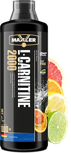 Maxler L Carnitin Liquid Hochdosiert - L Carnitin Flüssig - Vegan und Zuckerfrei - reich an Geschmack - optimal dosiert - 2000 mg von L-Carnitin pro Portion - Zitrus - 1000ml