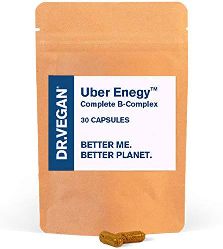 DR.VEGAN Uber Energy | High Strength B Vitamin Complex, 30 Vegan-Friendly Capsules | Includes Vitamin B12 (100ug), Choline (50mg), Biotin (50ug) and Folate (200ug) | One-A-Day