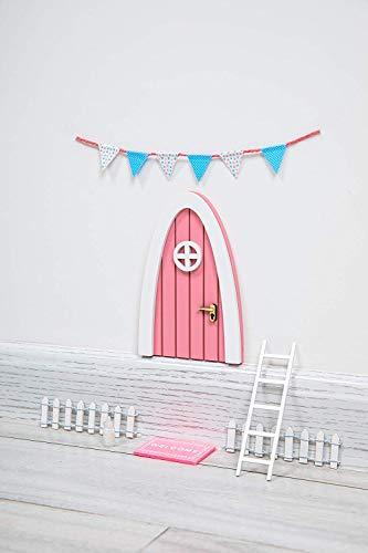 Tooth Fairy Door Kit Great Gift for Miniature Come with Fairy Door Accessories Pink Hobbit Door PretendPlayToys for Girls Kids Room