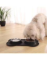 Amazon Basics Juego de base y cuencos para perro, forma de hueso, de silicona - negro