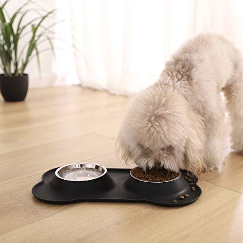 Amazon Basics Set mit Silikonmatte in Hundeknochenform und Haustiernapf - schwarz