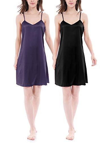 Genuwin Damen Satin Nachthemd Negligee Nachtkleid Kurz Sommer Nachtwäsche Trägerkleid, 2er Pack(XL, Schwarz + Violett)