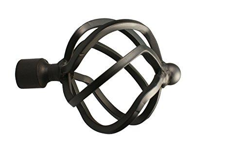iso-design Gardinenstangen Endstück Flammenkugel aus Metall für 16 mm Durchmesser, Schwarz