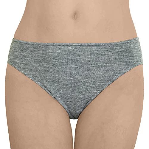 Women's Thermal Panties Briefs: Moisture Wicking Merino Wool Silk (EU 38-40   Small, Grey Melange)