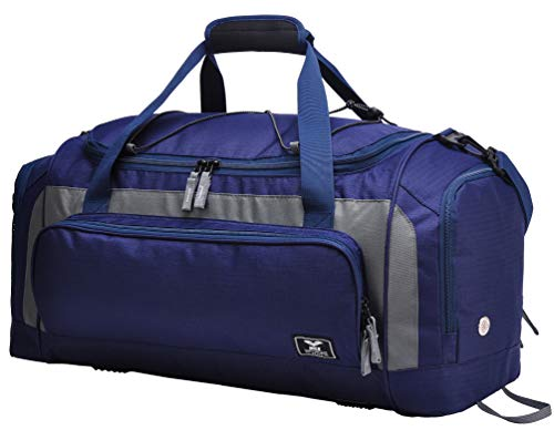 MIER Large Duffel Bag Men#039s Gym Bag with Shoe Compartment Navy/Grey