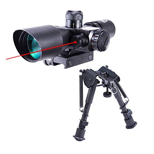 Pinty 2.5-10x40 Red Green Illuminated Mil-dot Tactical Rifle Scope with Red Laser Combo & Carbon Fiber Rifle Bipod with 6 inch to 9 inch Adjustable Legs & Picatinny Adapter
