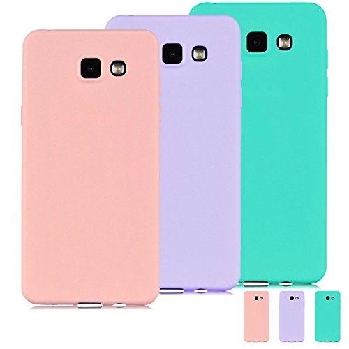 [3 Pieces] Funda Samsung Galaxy A3 2016 (A310) Carcasas Flexible TPU Silicona Mate Opaco Ultra Fina Ligero Gel Anti-Arañazos y Anti-Choque Bumper Protectora Case,Menta Verde + Púrpura + Rosado