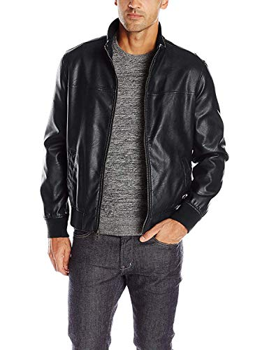 Tommy Hilfiger Men's Smooth Lamb Touch Faux Leather Unfilled Bomber, Black, M