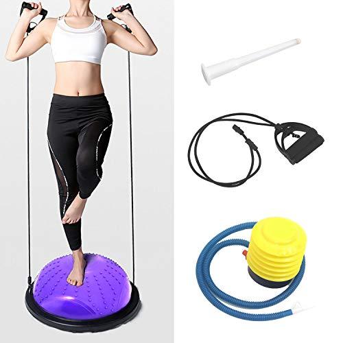 ISE Balance Trainer Fitball Media Bola de Equilibrio para Entrenamiento, Ø46cm Gym Pelota Balón Semiesfera de Gimnasia Pilates con Cables y Inflador para Yoga y Fitness, MAX.150 KG, Morado SY-BAS1003